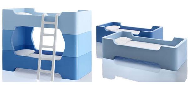 Bunky Blu, il colorato letto a castello che si trasforma in due letti singoli