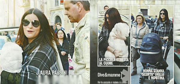 Laura Pausini in giro per Roma con la piccola Paola [Foto]