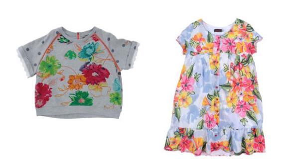 Stampe floreali protagoniste dei vestiti per bambina di Catimini