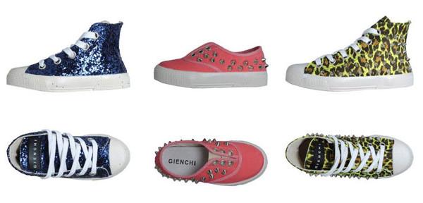 Paillettes e borchie protagoniste delle scarpe per bambina di Gienchi