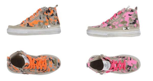 Sneakers per bambina con fantasia mimetica: i modelli firmati Enrico Fantini