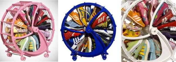La scarpiera di Rakkiddo a forma di ruota spaziosa e poco ingombrante