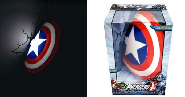 Lo scudo di Capitan America diventa una lampada 3D per la cameretta