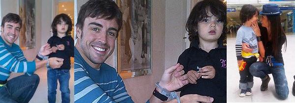 Il figlio di Briatore, Nathan Falco, gioca con Fernando Alonso