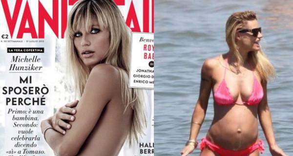 Michelle Hunziker posa nuda con il pancione per Vanity Fair