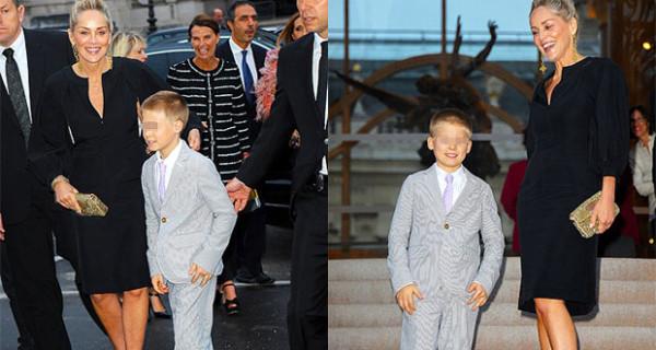 Sharon Stone e il figlio Quinn elegantissimi alla sfilata di Fendi