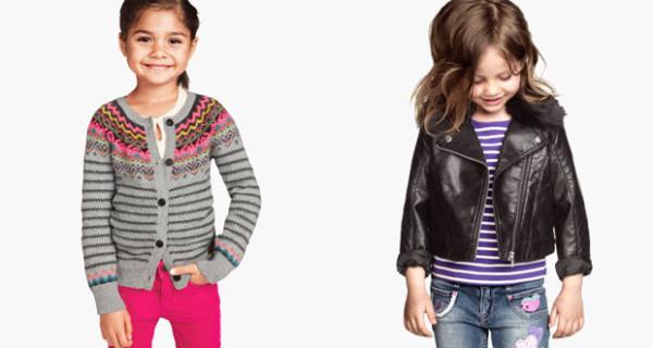H&M Kids, cardigan in maglia e giubbotto biker per bambine fashion