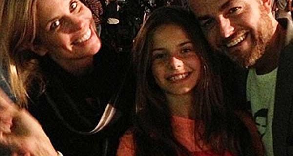 Filippa Lagerback e Daniele Bossari con la figlia Stella al concerto di Selena Gomez