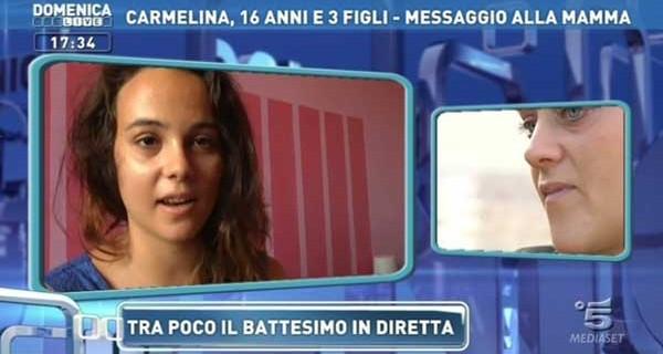 Carmelina, mamma di tre figli a 16 anni: la sua storia a Domenica Live