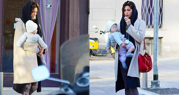 Belen e il piccolo Santiago per le vie di Milano prima di partire per l'Argentina [Foto]