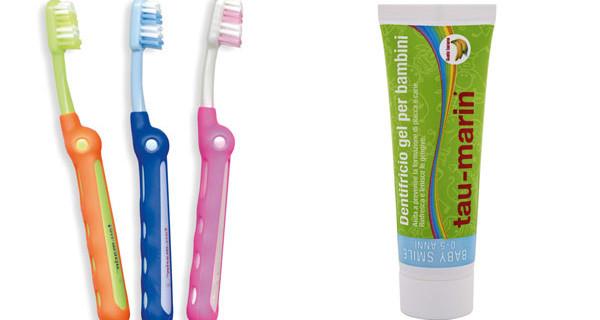 Dentifricio e spazzolino per bambini: ecco le proposte di Tau Marin