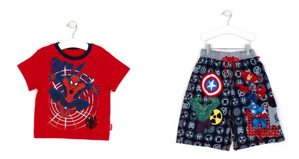 Costume da mare degli Avengers e t-shirt di Spider Man: in spiaggia con i supereroi