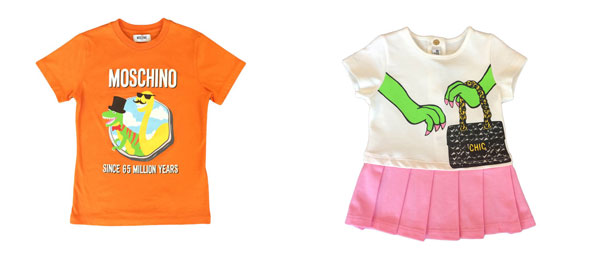 Moschino Baby Kid Teen, collezione PE 2015: protagonista l'allegro Dinosauro