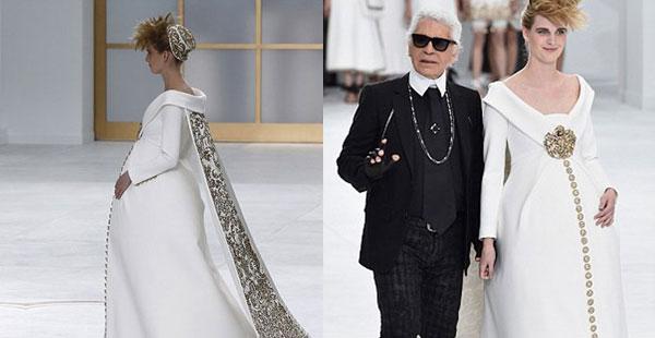 Chanel Haute Couture: per Karl Lagerfeld sfila una sposa incinta