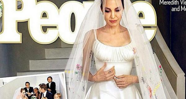 L'abito da sposa di Angelina Jolie: sul velo tutto l'amore per i suoi 6 figli [FOTO]
