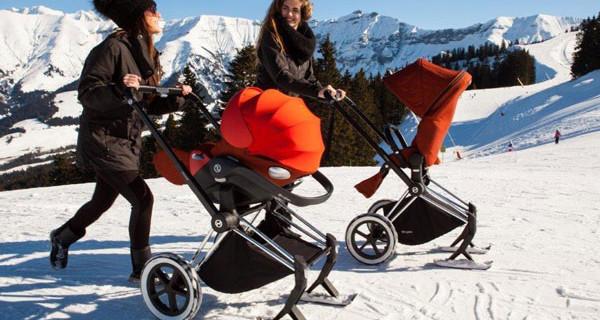 Cybex presenta il passeggino con gli sci: sulla neve anche con i bebè