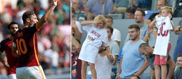 Il regalo di Cristian e Chanel per i 300 gol di papà Francesco Totti con la Roma